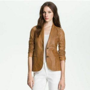 Vince Two Button Chestnut Leather Jacket Blazer